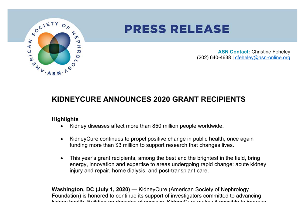 KidneyCure Announces 2020 Grant Recipients