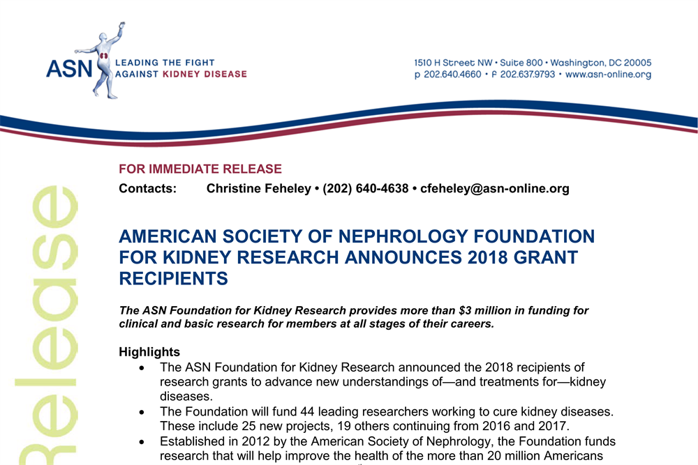 ASN Foundation Announces 2018 Grant Recipients